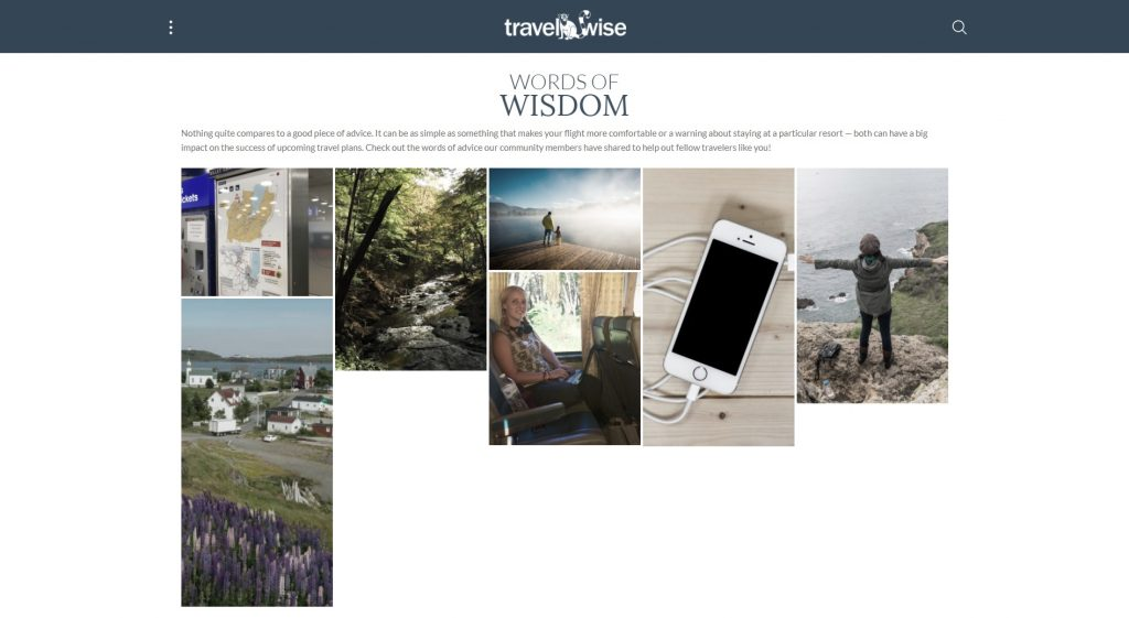 A screenshot of the Words of Wisdom page on the Travel-Wise website.