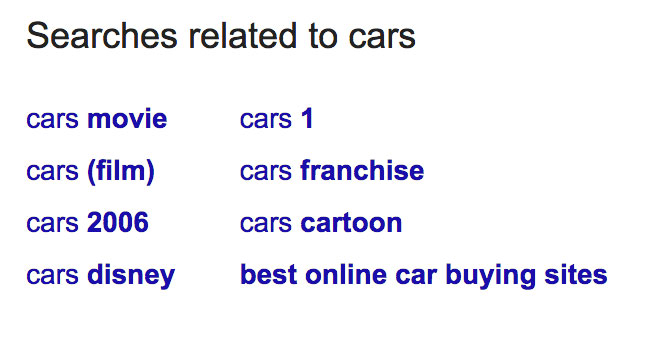 """Screenshot of different keywords related to """"cars."""""""