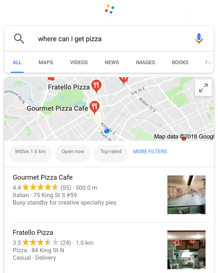 Google search results displayed on a phone